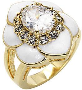 JCPenney city x city Gold-Tone Crystal Floral Ring
