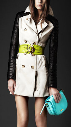 Burberry Gabardine Biker Trench Coat With Contrast Leather Sleeves