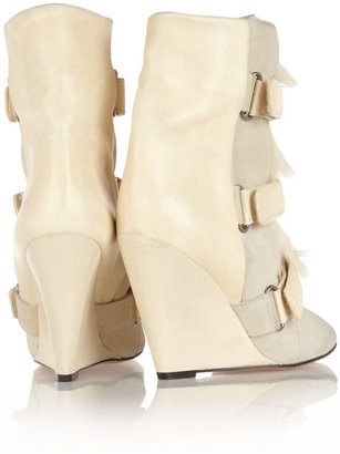Isabel Marant Pierce suede, leather and calf hair wedge boots