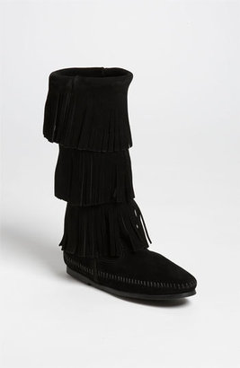 Women's Minnetonka 3-Layer Fringe Boot $97.95 thestylecure.com