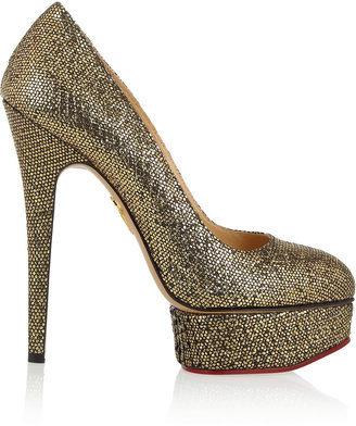 Charlotte Olympia Priscilla metallic python-effect leather pumps