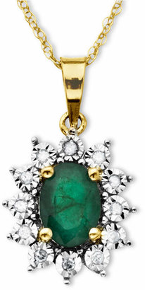Macy's 10k Gold Necklace, Emerald (7/8 ct. t.w.) and Diamond Accent Pendant