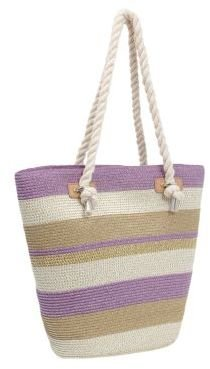 Magid Striped Large Bucket Tote Bag with Rope Handles
