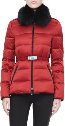 Burberry Belted Fur-Collar Puffer Jacket