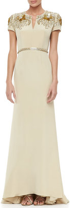 Naeem Khan Embroidered-Sleeve Keyhole-Neck Gown