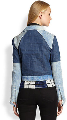 Timo Weiland Carrie Denim-Effect Leather Patchwork Jacket