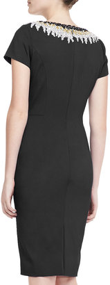 Pamella Roland Beaded Bateau Sheath Dress