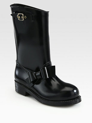 RED Valentino Tall Bow-Trimmed Rain Boots
