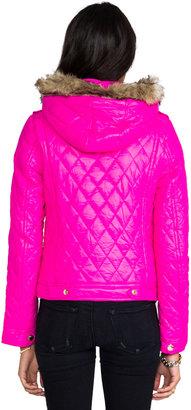 Juicy Couture Diamond Quilt Moto Puffer Jacket w/ Faux Fur