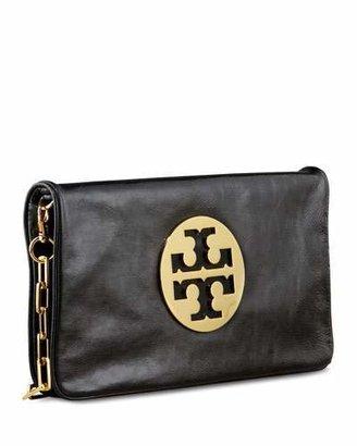 Tory Burch Reva Glazed Leather Clutch Bag, Black $350 thestylecure.com