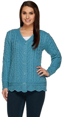 Aran Craft Merino Wool Button Front Scalloped Cardigan
