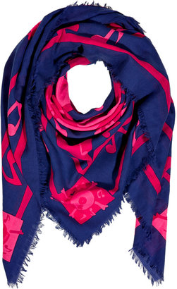 Marc by Marc Jacobs Punch Pink/Multi Cotton Bone Print Scarf
