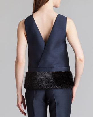 Marni Organdy V-Back Fur-Hem Top