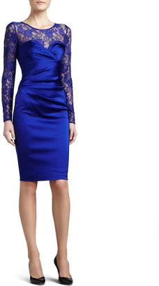 David Meister Lace Sweetheart-Neck Illusion Dress