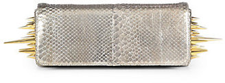 Christian Louboutin Marquise Metallic Python Spiked Clutch
