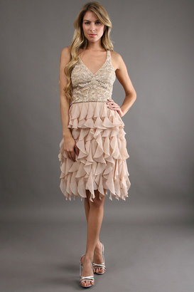 Sue Wong Tiered and Beaded Dress