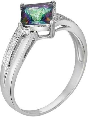 10k White Gold Lab-Created Alexandrite & Diamond Accent Ring
