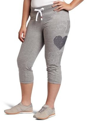 Southpole Juniors Plus-Size Light Weight Roll Up Sweatpant With Sequins Heart Accent