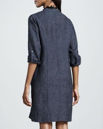 Eileen Fisher Washed Linen Snap-Button Dress, Women's