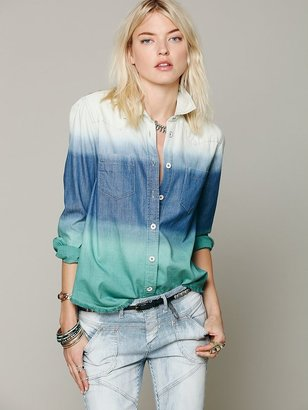 Free People Ombre Button Down Shirt