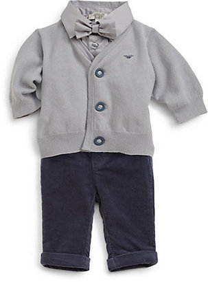 Armani Junior Infant's Four-Piece Bodysuit, Pants, Cardigan & Bow Tie Set