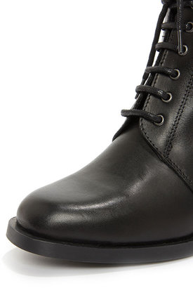 Report Signature Kenneth Black Leather Lace-Up Boots