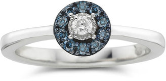 MODERN BRIDE 1/10 CT. T.W. Blue & White Diamond Flower Promise Ring