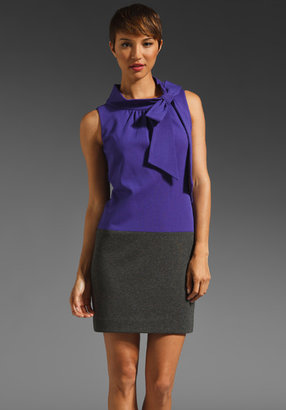 Milly Colorblock Bow Shift Dress in Violet/Slate