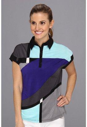 Pucci DKNY Golf - Geo Print Short Sleeve Top (Matisse Blue) - Apparel