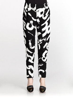 Proenza Schouler Letter-Print Spiral-Cut Tapered Pants