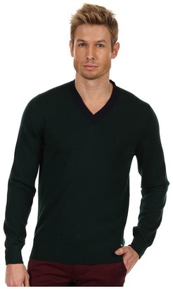 DSquared DSQUARED2 - V-Neck Sweater with Elbow Patches (Dark Green/Blue) - Apparel