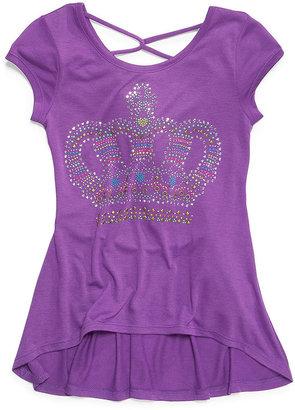Beautees Kids Shirt, Girls Studded High-Low T-Shirt