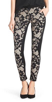Diane von Furstenberg Harmony Floral Lace Pant In Black/nougat