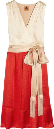 Tory Burch Darya hammered-silk wrap-effect dress