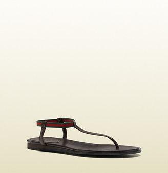 Gucci 'areia' Flat Thong Sandal With Signature Web.