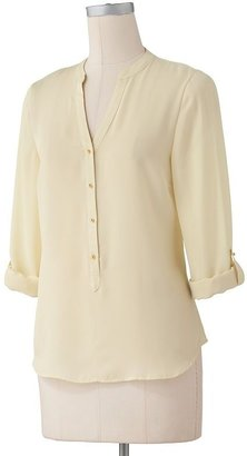 Lauren Conrad solid roll-tab blouse