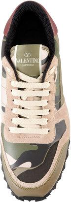 Valentino Rockstud Camo-Print Sneaker