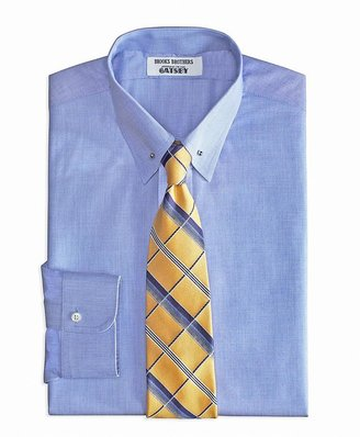 Brooks Brothers The Great Gatsby Collection Supima® Cotton Non-Iron Slim Fit Point Collar Broadcloth End-on-End Solid Dress Shirt