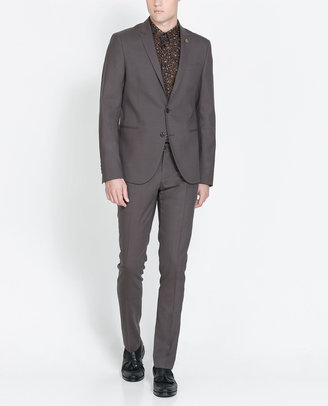 Zara Taupe Suit With Pin