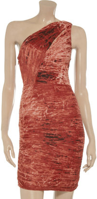 Halston Pleated printed stretch-jersey one-shoulder dress