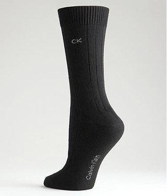 Calvin Klein Women's Wide Rib Crew Socks 3-pack Panty Hose