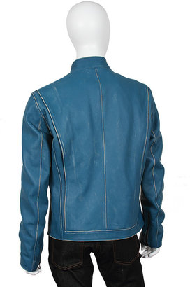 Belstaff Goodwood Sports & Racing By Ronnie Leather Jacket in Rubberized Blue - by Goodwood Sports & Racing by
