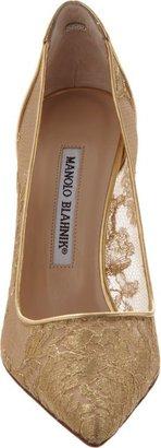 Manolo Blahnik Women's Lace BB Pumps-Gold