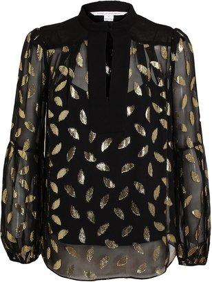 Diane von Furstenberg Leaf Patterned Sheer Silk Blouse