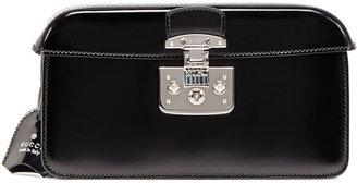 Gucci Small Patent Cap-Top Lock Clutch, Black
