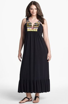 T-Bags Tbags Los Angeles Embellished Jersey Maxi Dress (Plus Size)