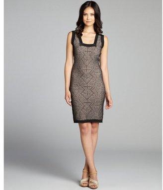 Nicole Miller black and khaki textured knit sleeveless cutout dress