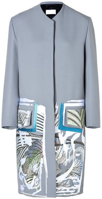Peter Pilotto Embroidered Coat in Stone