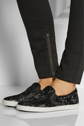 Jimmy Choo Demi flocked sequined slip-on sneakers