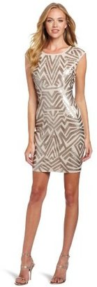 BCBGMAXAZRIA Women's Vallissa Geometric Sequin Shift Dress